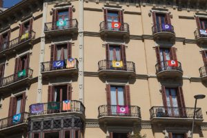 Catalan flags in windows about the independence referendum